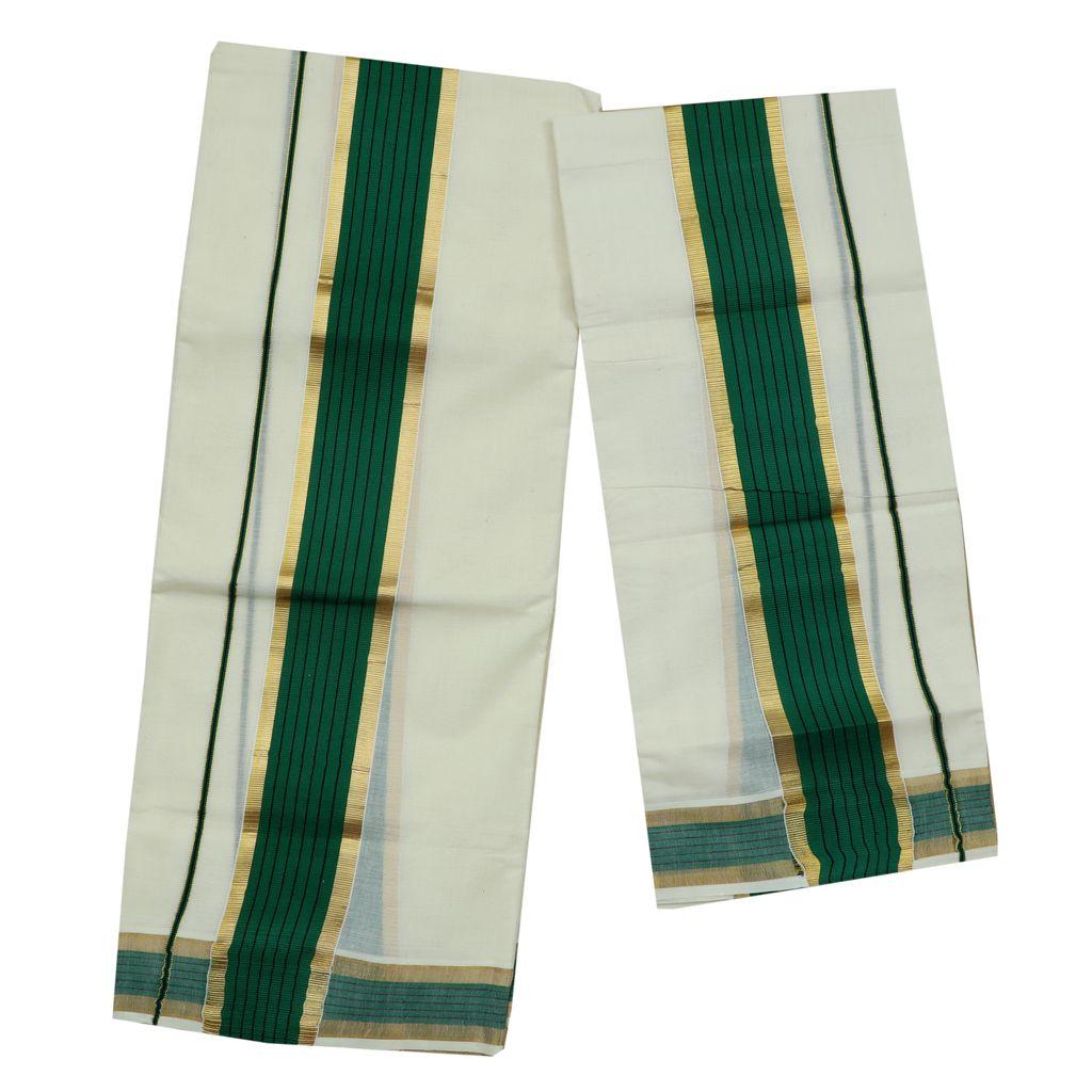 Cotton Green Kara Set Mundu With Golden Border