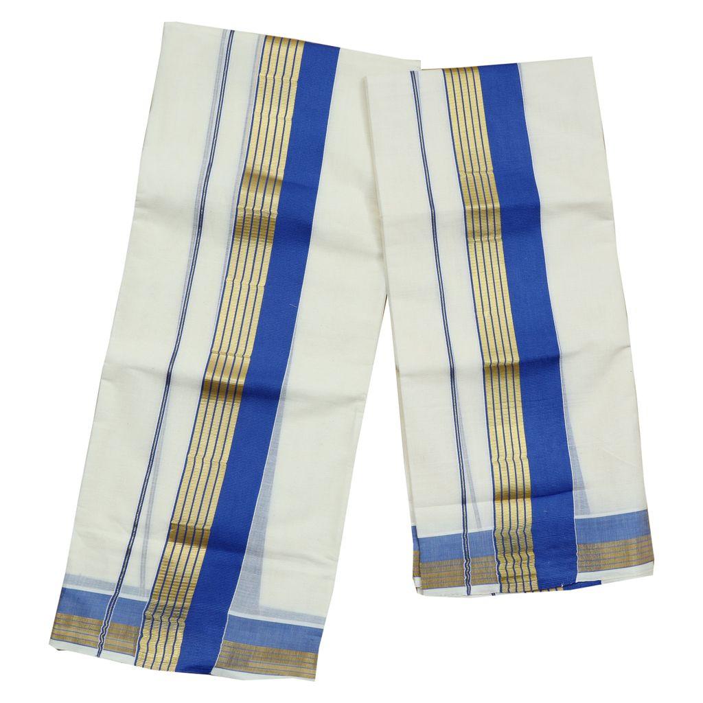 Light Blue Kara Cotton Set Mundu With Golden Stripes