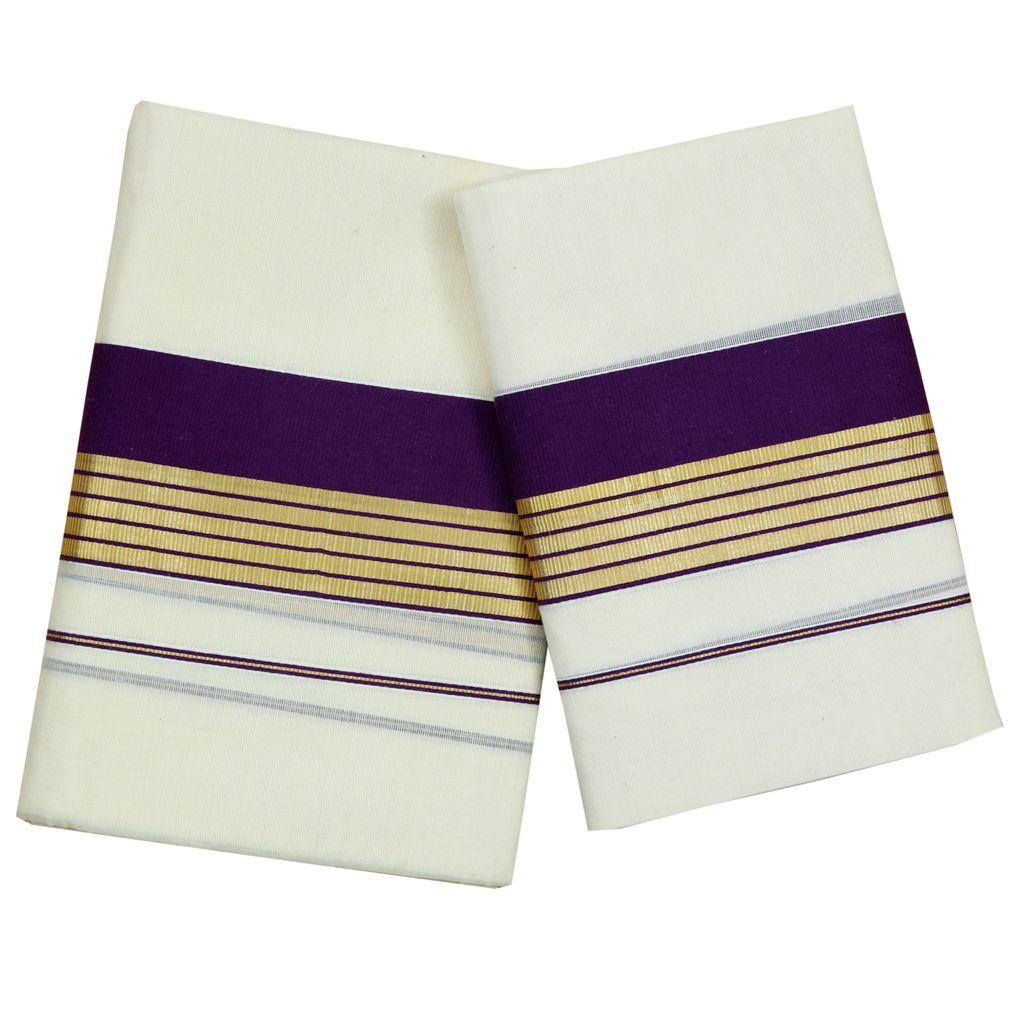 Purple Kara Cotton Set Mundu With Golden Stripes