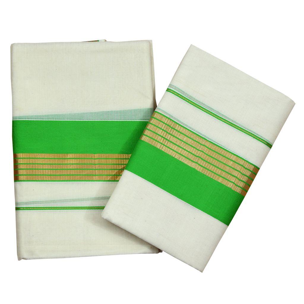 Light Green Kara Cotton Set Mundu With Golden Stripes