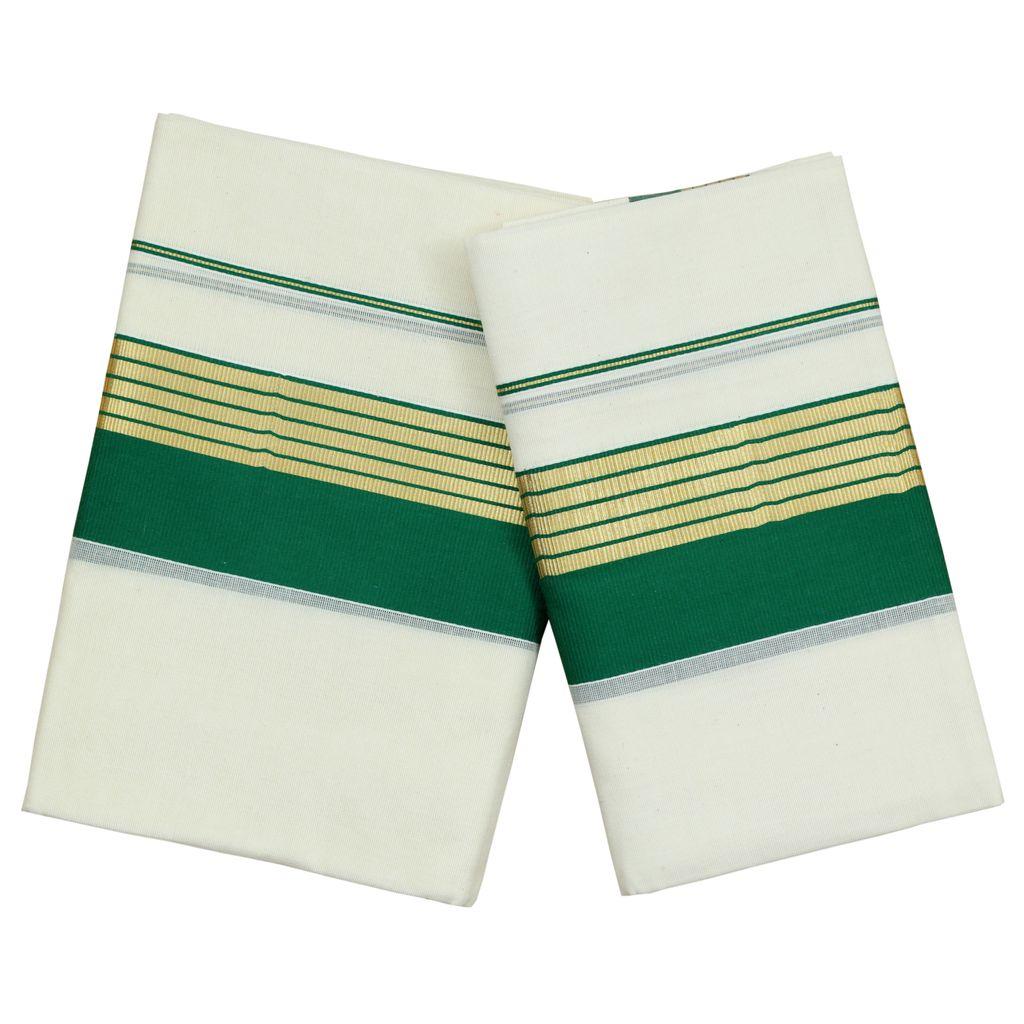 Green Kara Cotton Set Mundu With Golden Stripes