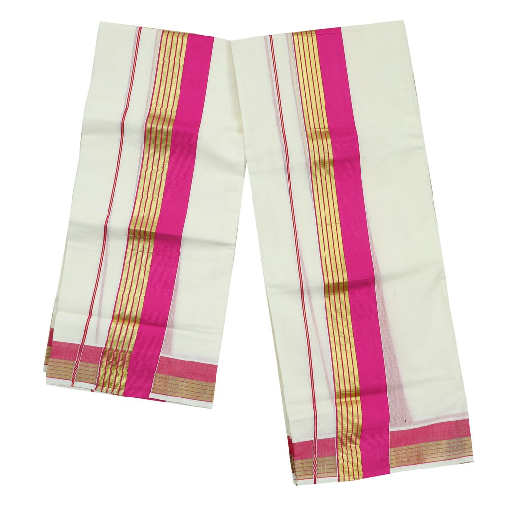 Pink Kara Cotton Set Mundu With Golden Stripes