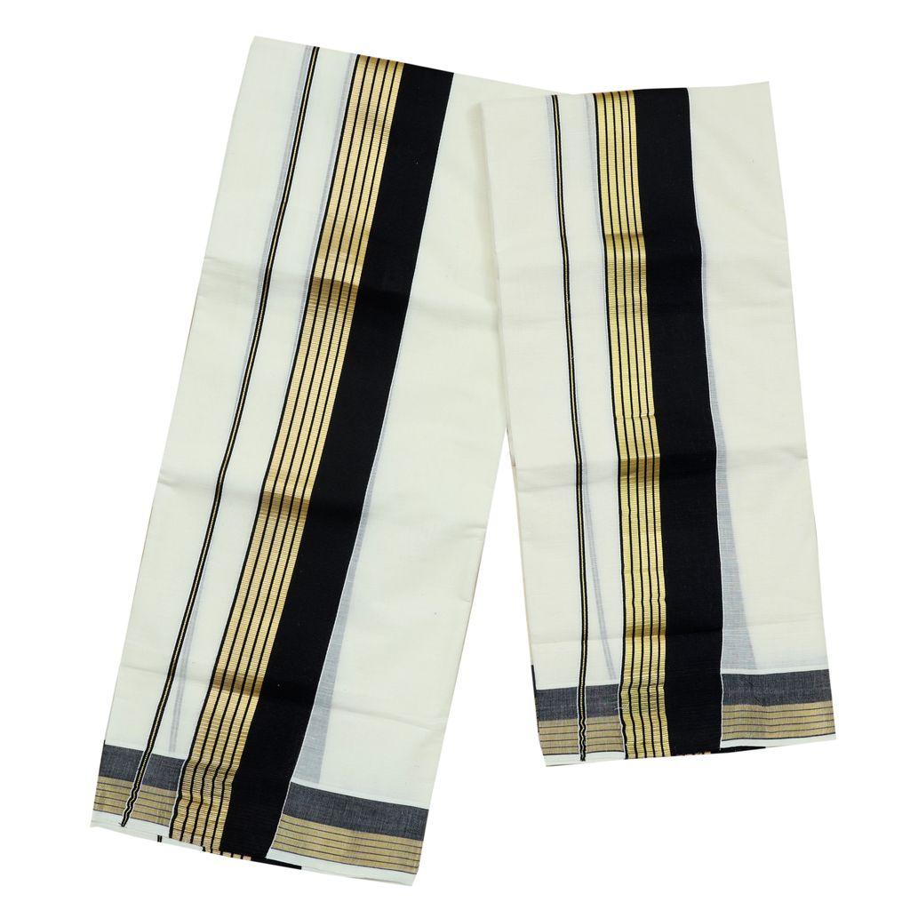 Black Kara Cotton Set Mundu With Golden Stripes