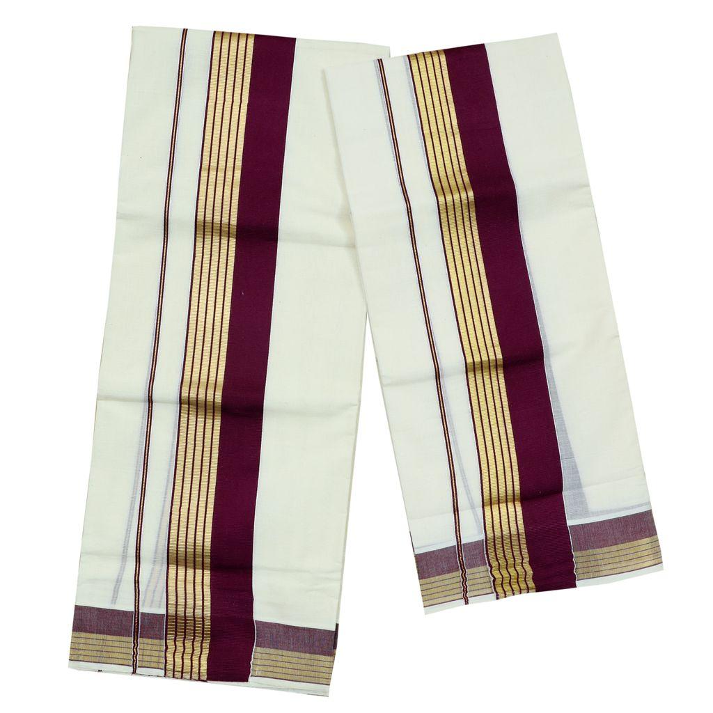 Violet Kara Cotton Set Mundu With Golden Stripes