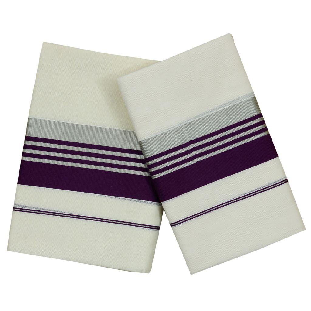 Cotton Set Mundu Purple Border And Silver Kara