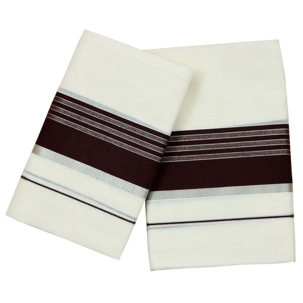 Cotton Set Mundu With Coffee Brown And Half Inch Silver Kara