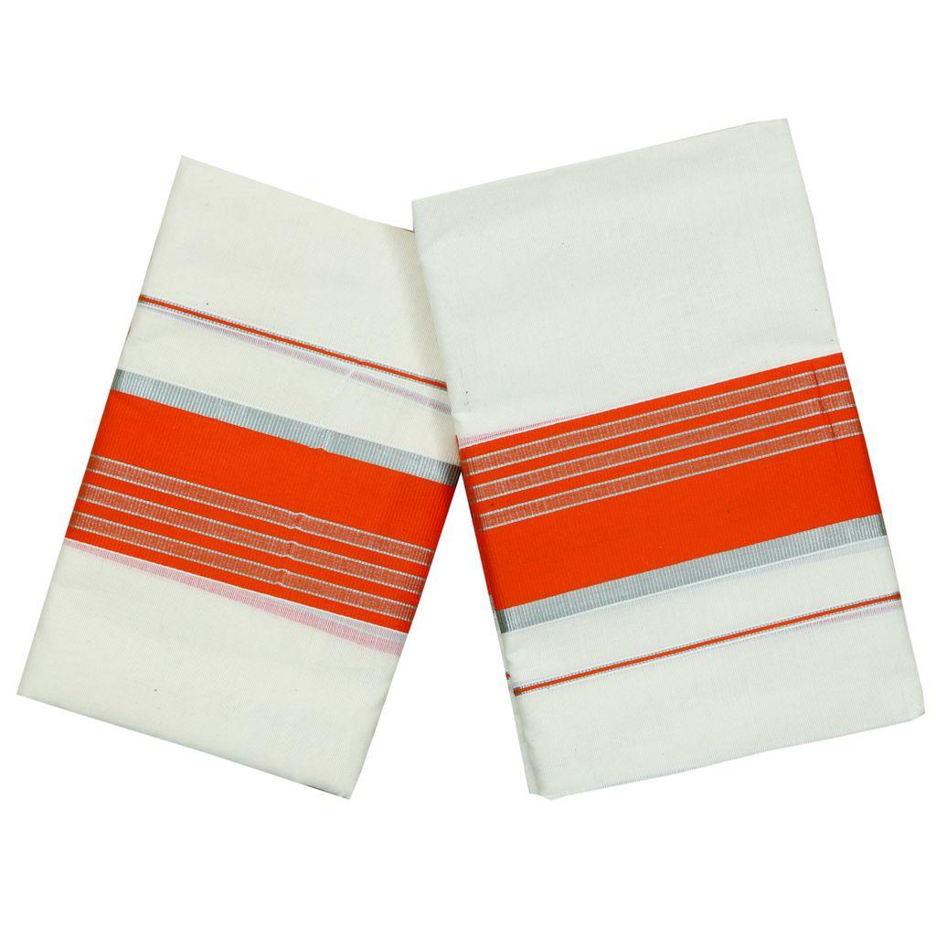 Cotton Set Mundu With Orange And Half Inch Silver Kara