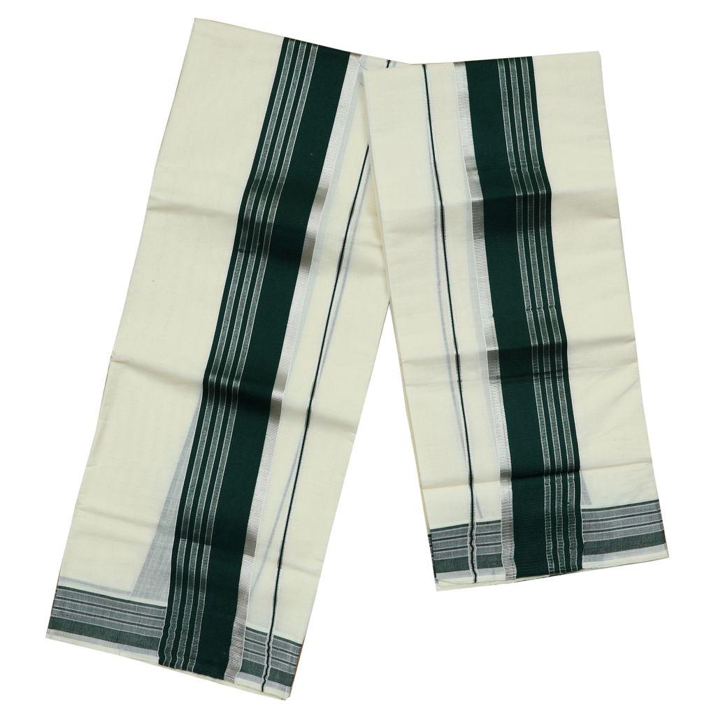 Cotton Set Mundu With Dark Green And Half Inch Silver Kara