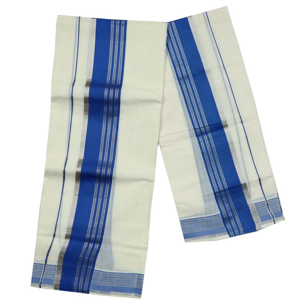 Cotton Set Mundu With Blue And Half Inch Silver Kara