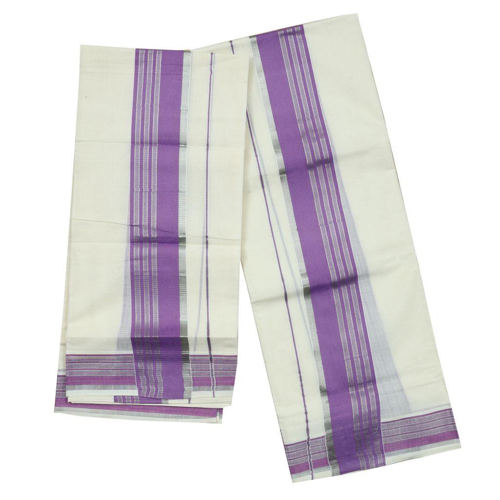 Cotton Set Mundu With Violet And Half Inch Silver Kara