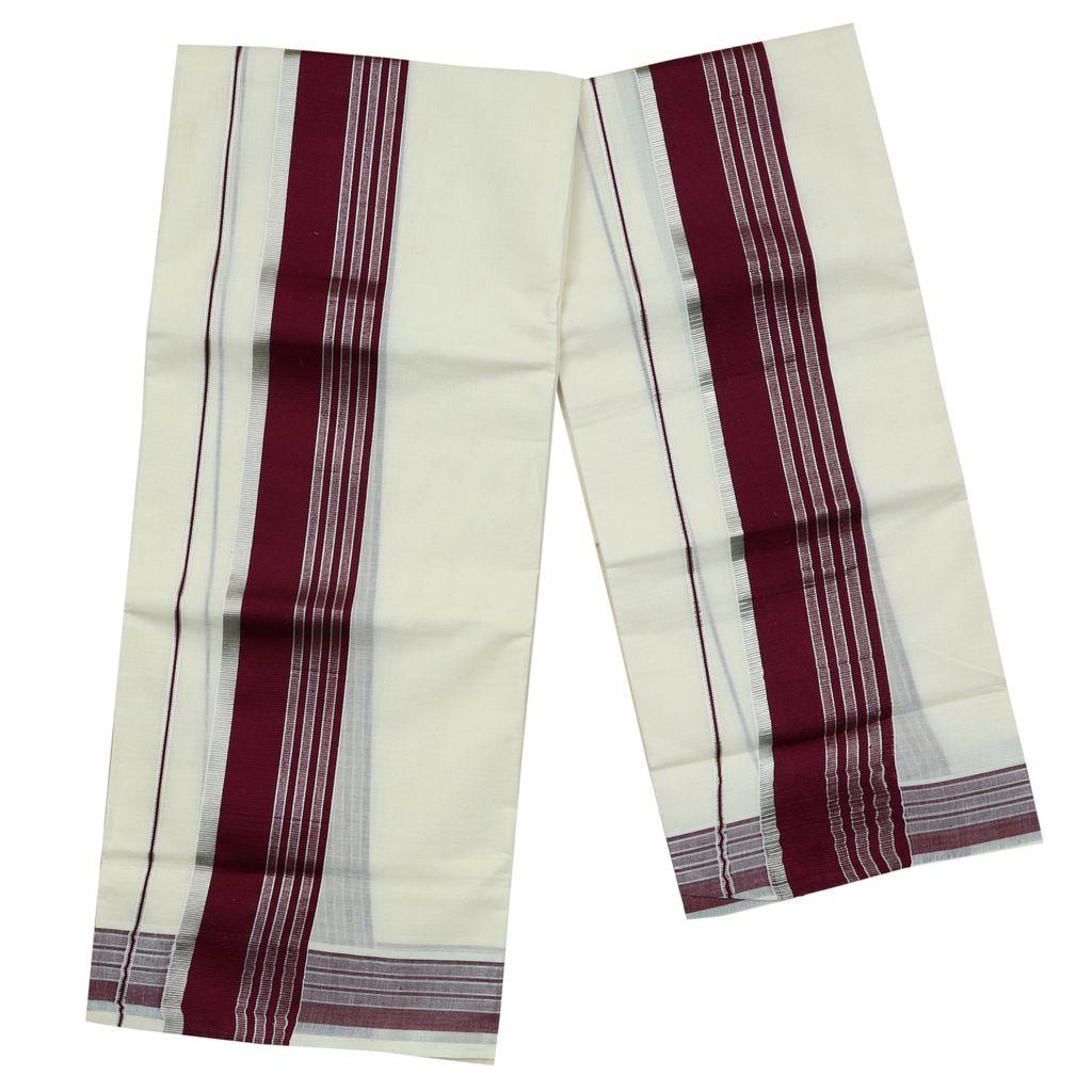 Cotton Set Mundu With Purple And Half Inch Silver Kara