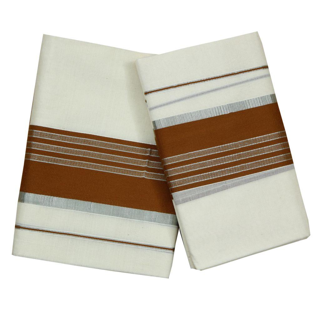 Cotton Set Mundu With  Half Inch Silver Kara