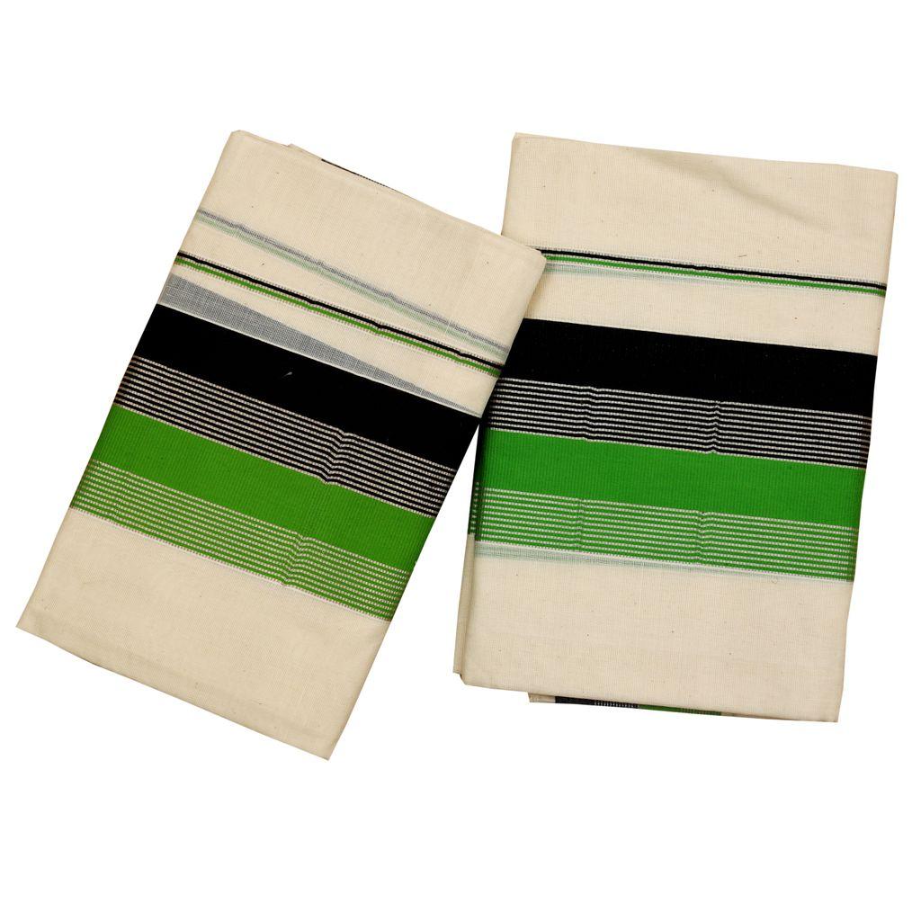 Set Mundu With Fancy Kara With Silver Stripes