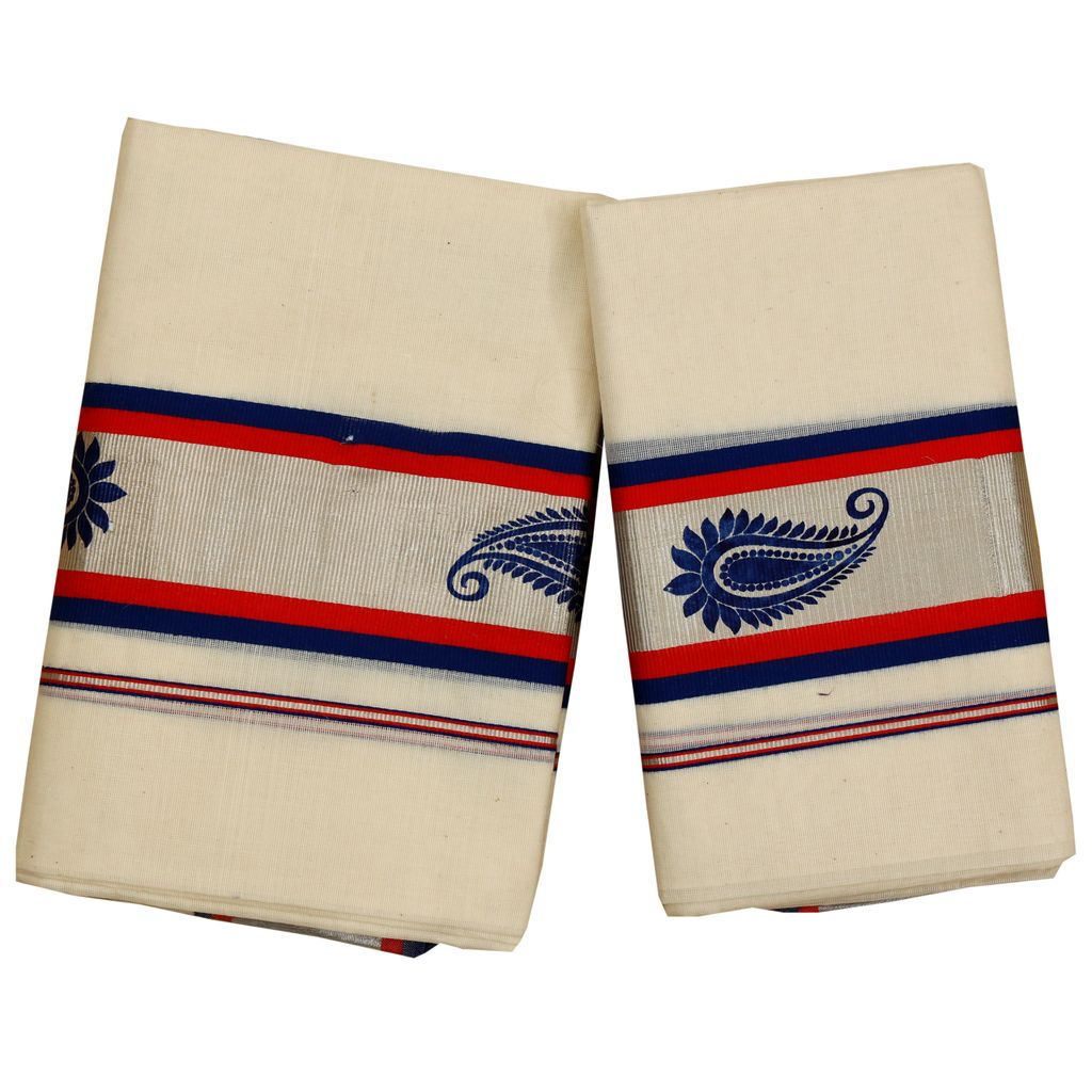 Set Mundu With Mural Printed Silver Kara With Fancy Color  Stripes