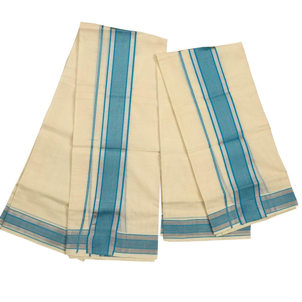 Broad Blue Kara Cotton Set Mundu With Silver Stripes