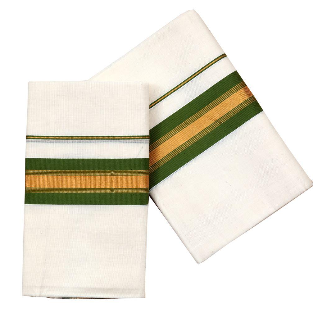 Golden Kara Cotton Set Mundu With Green Side Border