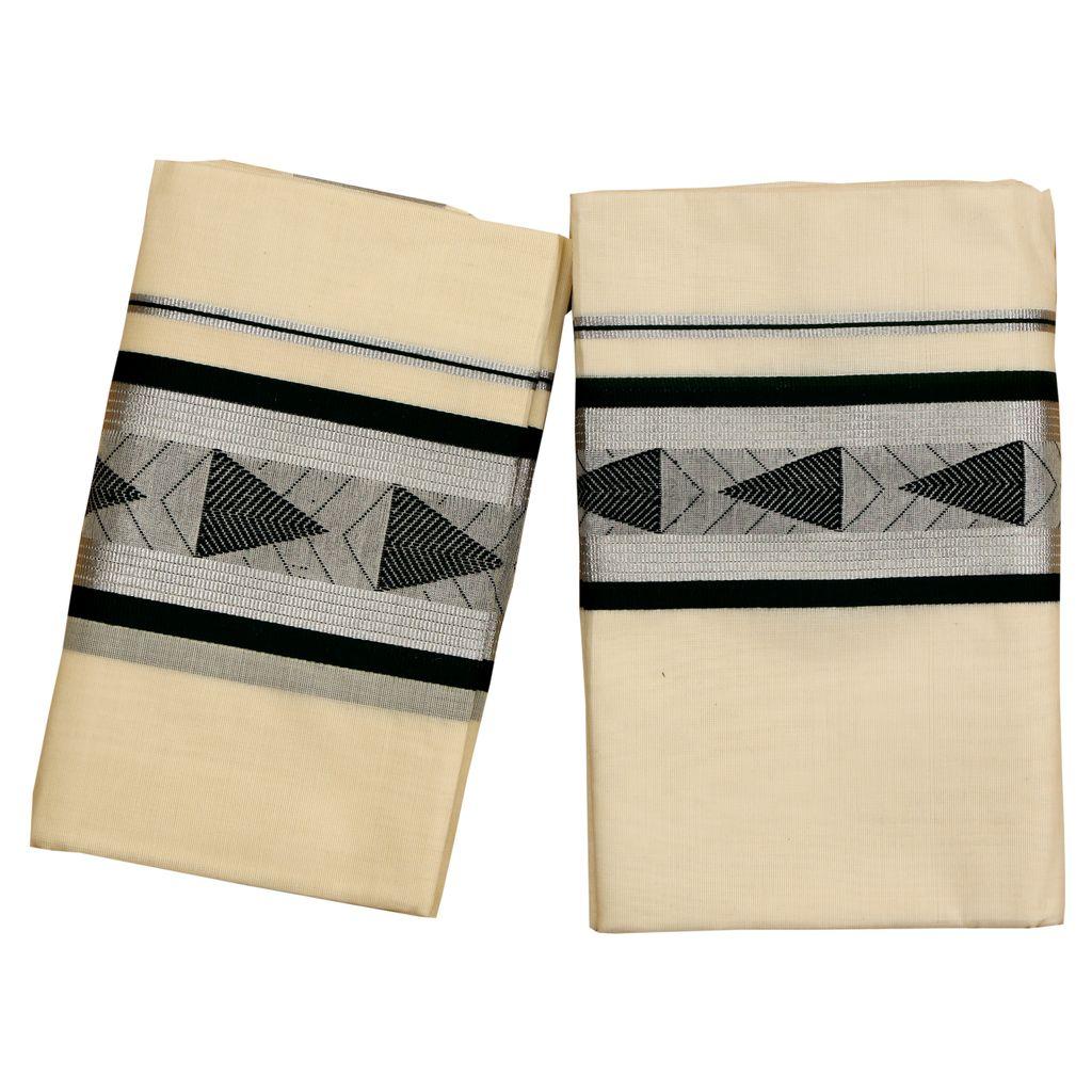 Cotton Setmundu With Dark Green Embroidery In Silver Border