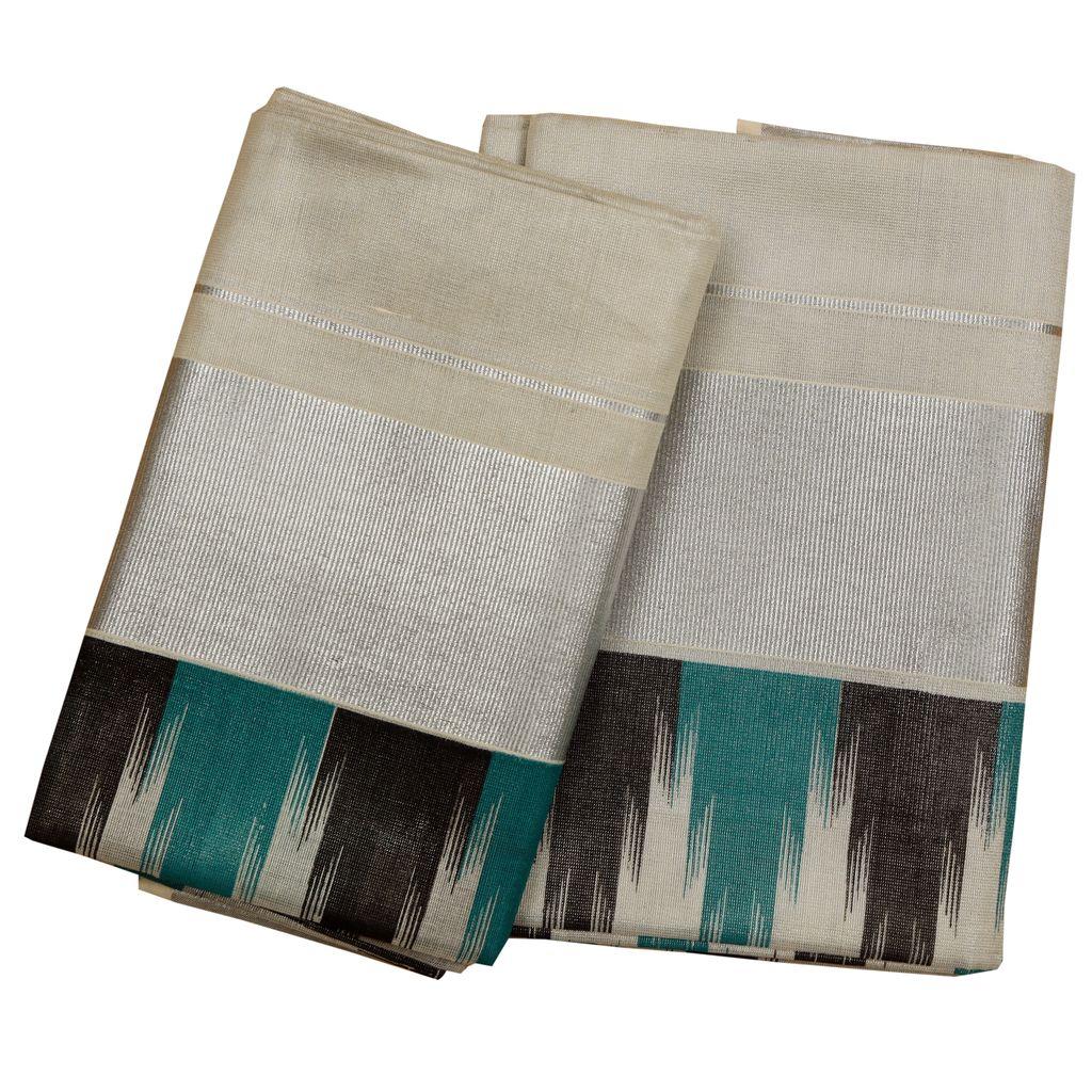 Silver Tissue Setmundu With Cyan And Black Temple Print