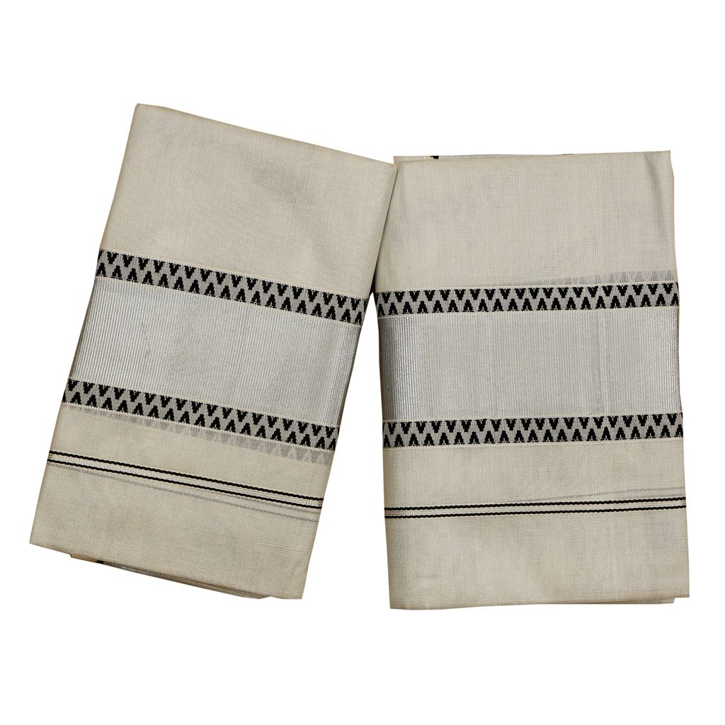 Silver Tissue Setmundu With Black Embroidery And Silver Border