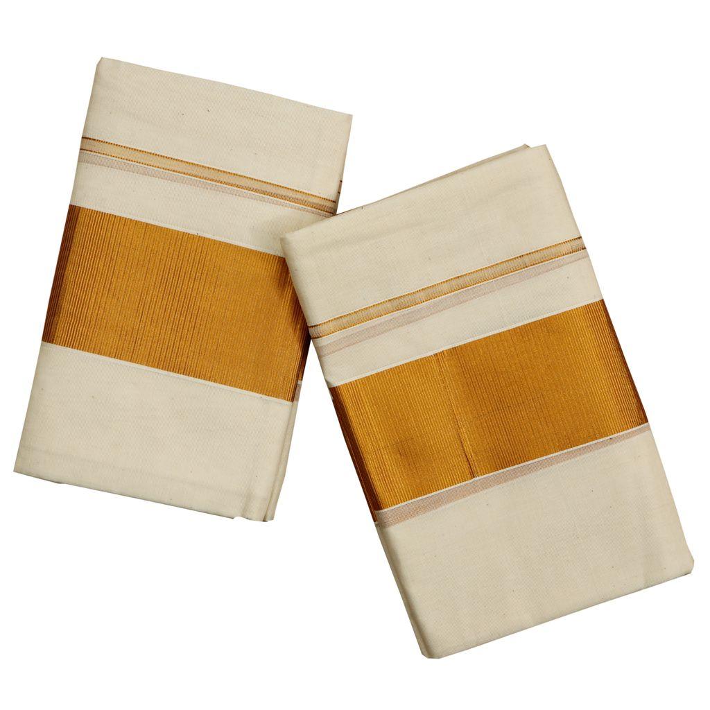 Golden Kara Cotton Set Mundu