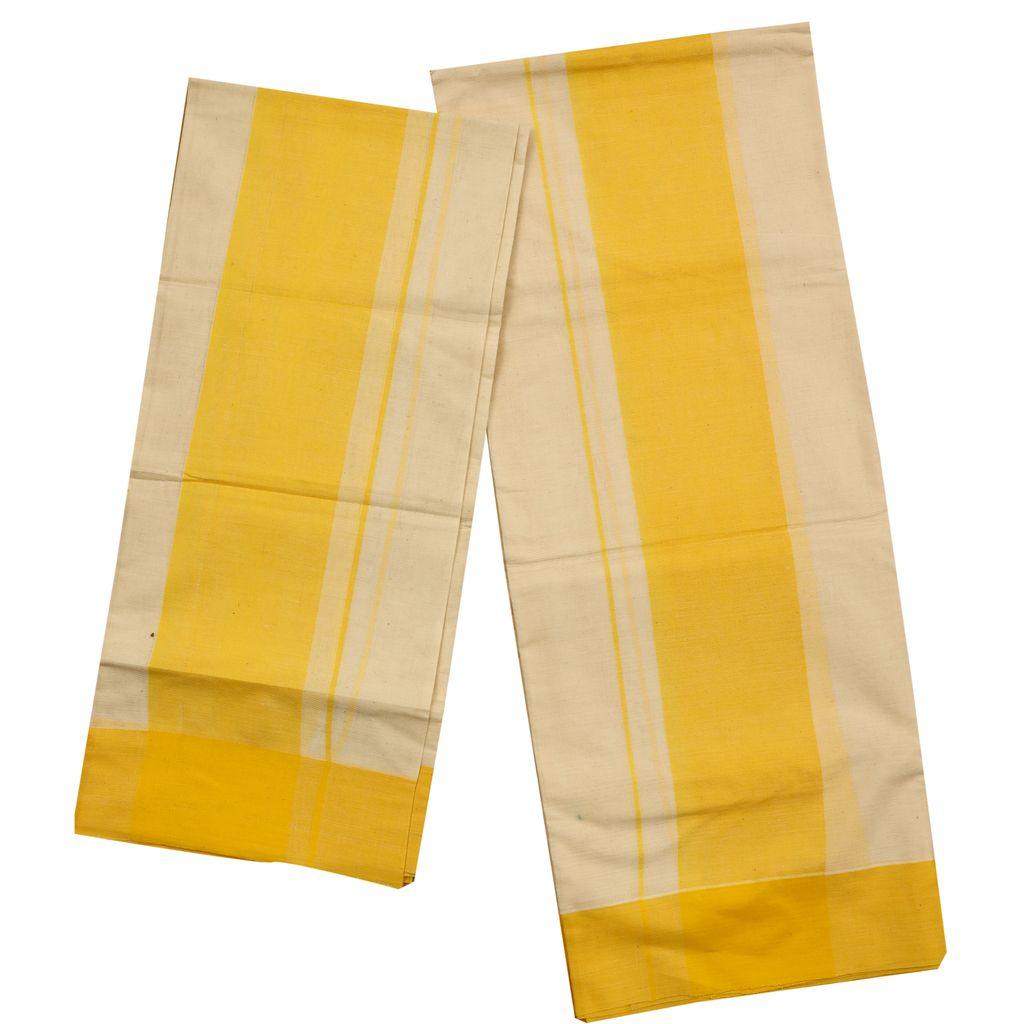 Cotton Setmundu With Yellow Border