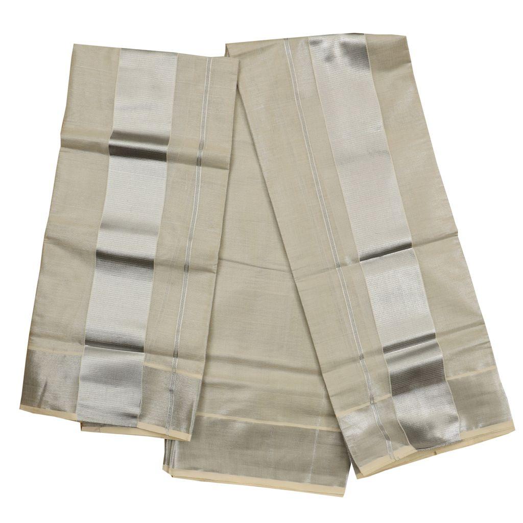 Tissue Silver Setmundu With Five Inch Silver Kara