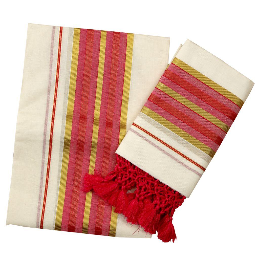 Cotton Fancy Set Mundu With Ruby Color Tassels