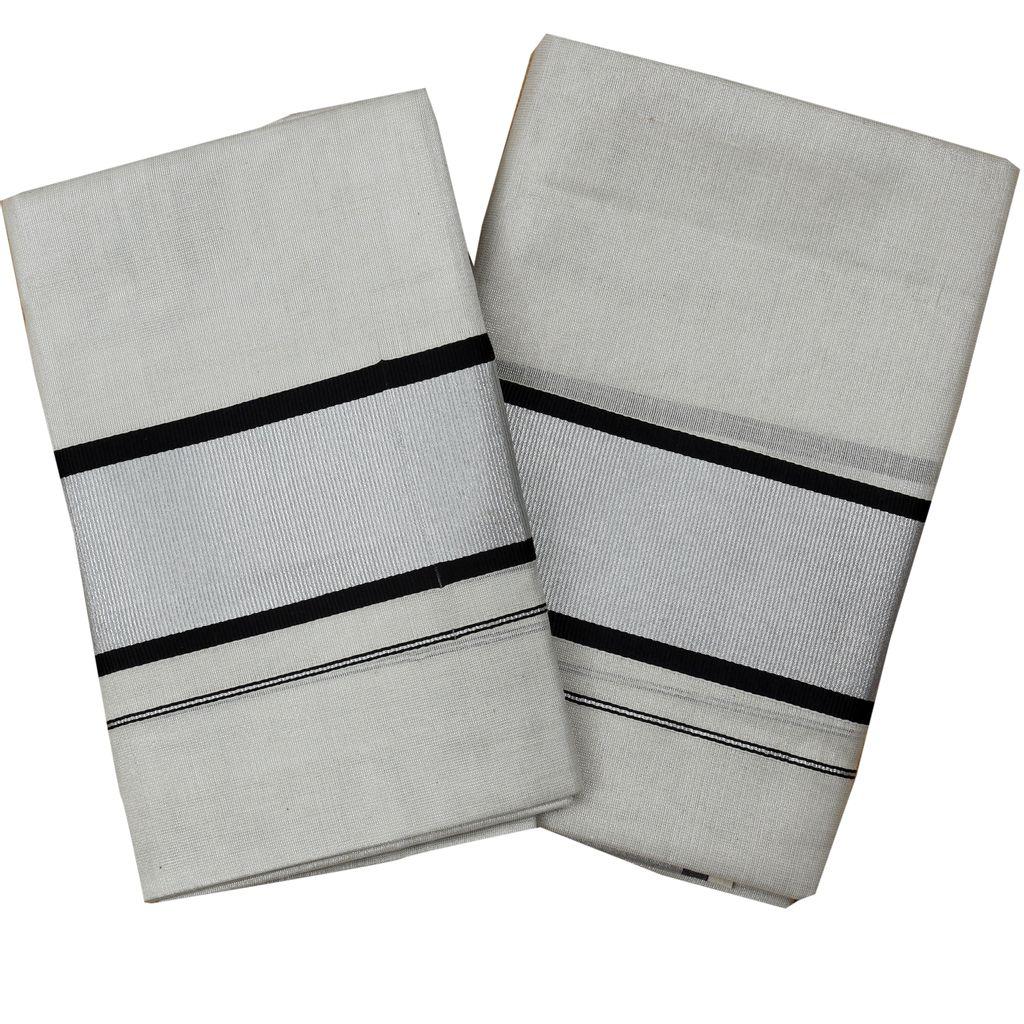 Silver Tissue Set Mundu With Black Border In Silver Kara
