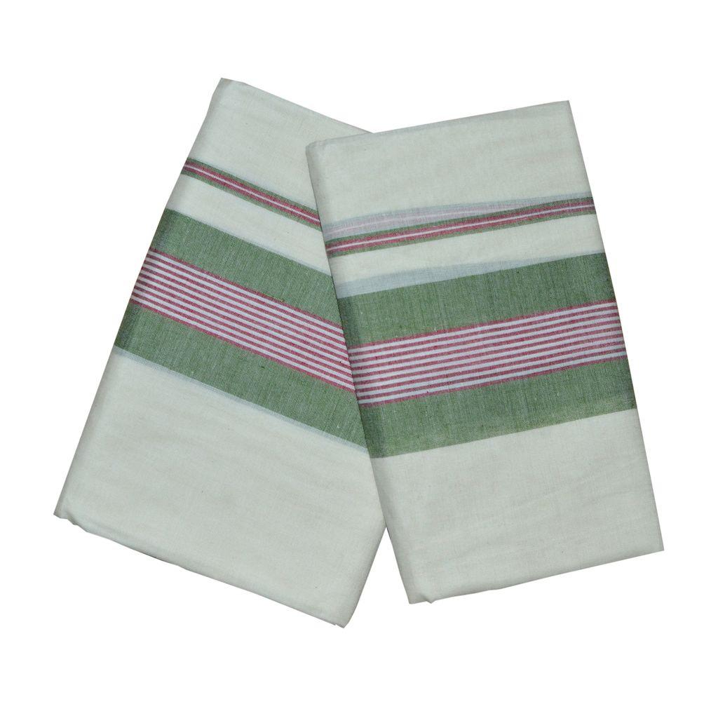 Mulloth Set Mundu in Pink And Green Border