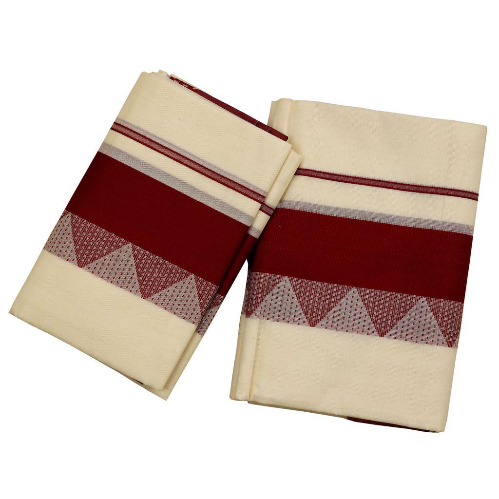 Temple Work Cotton Set Mundu in Maroon color