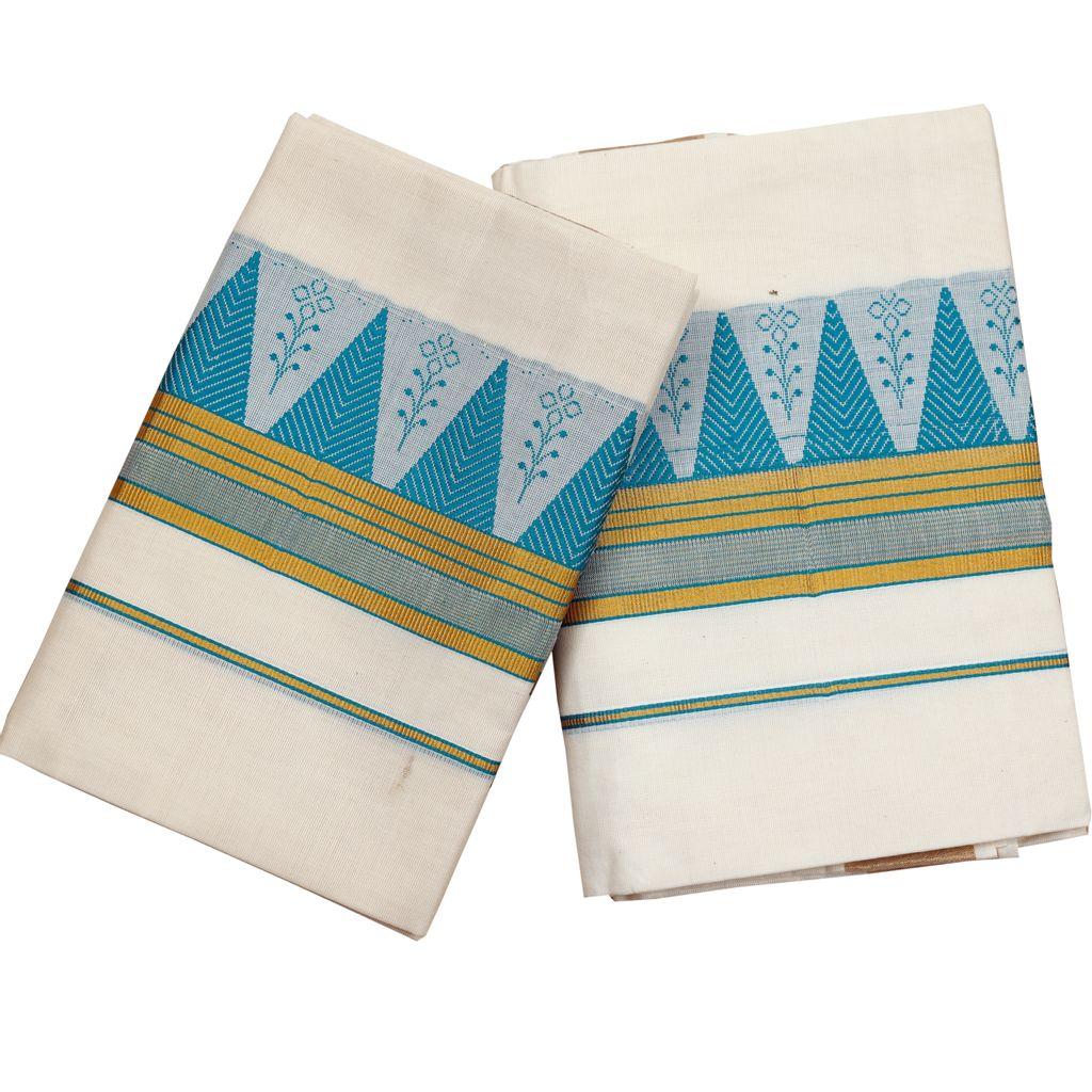 Cotton Set Mundu With Blue Color Temple Work And Golden Lines
