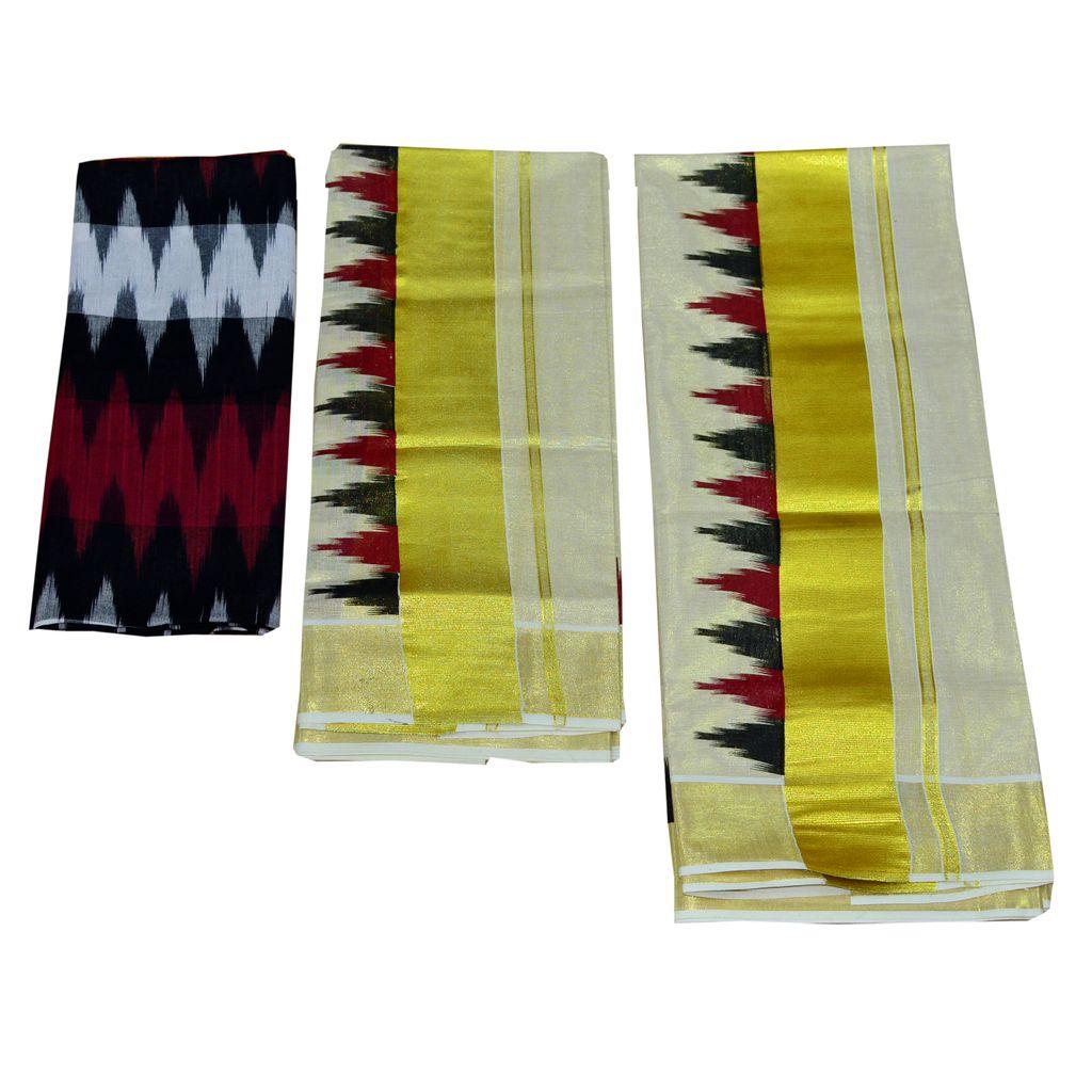 Ikat Tissue Kasavu Set Mundu