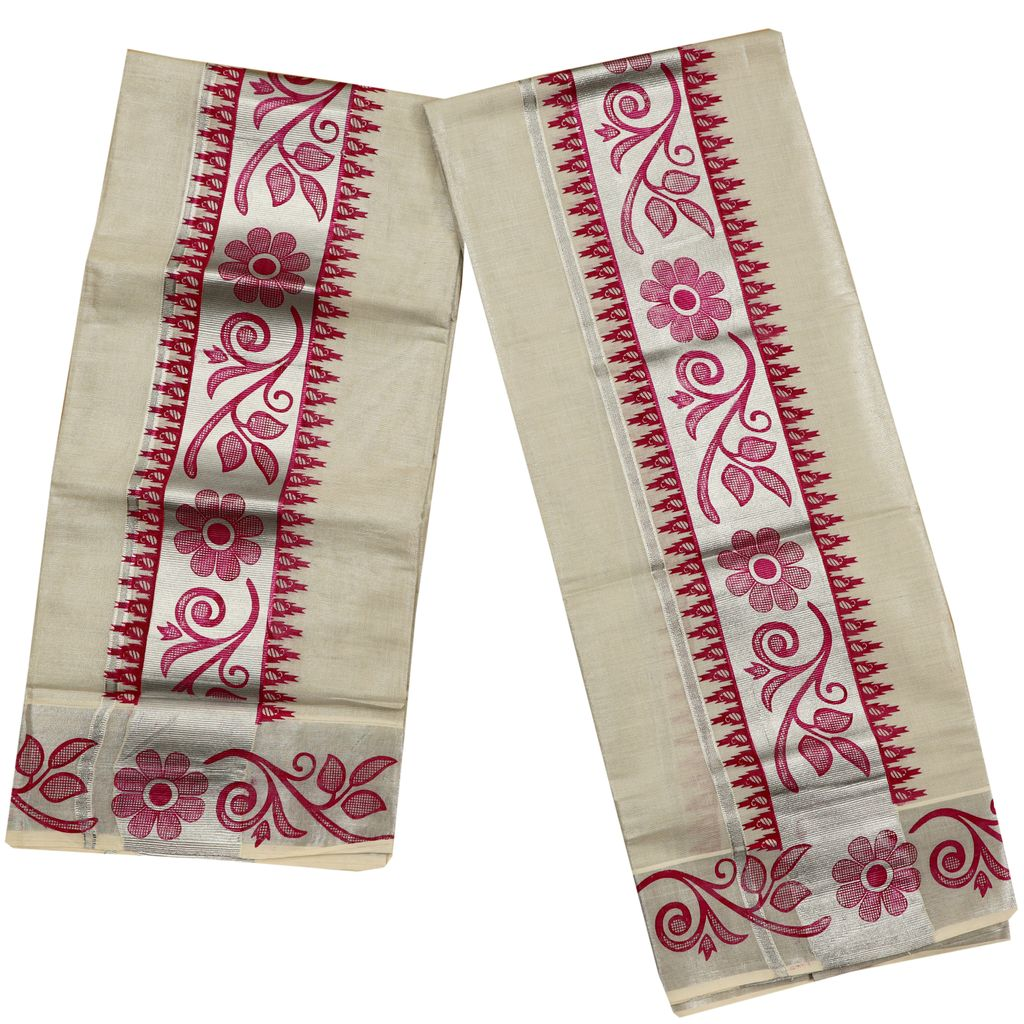 Silver Tissue Set Mundu With Pink Floral And Temple Print