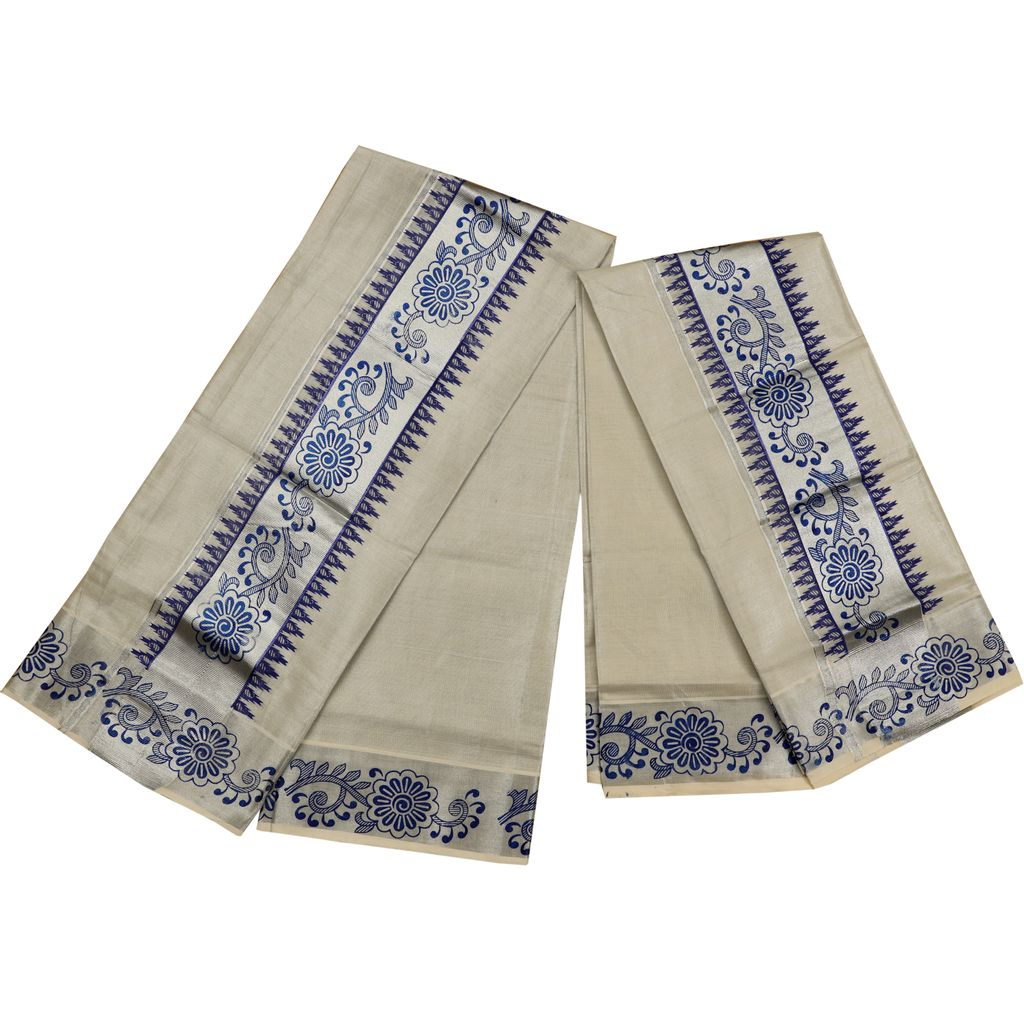 Silver Tissue Set Mundu With Blue Floral And Temple Print