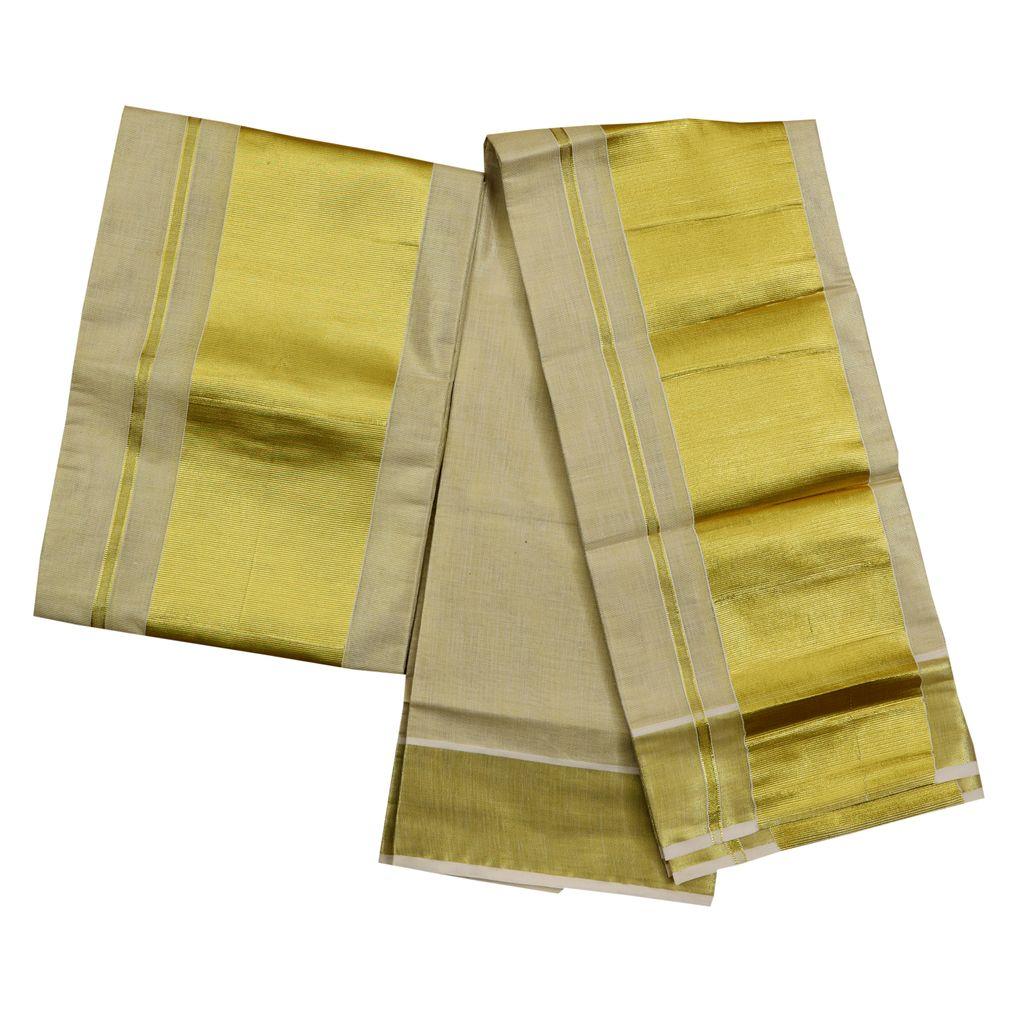 Tissue Set Mundu With Five Inch Kasavu Kara
