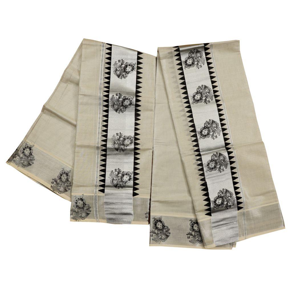 Krishna And Temple Print Silver Tissue Setmundu