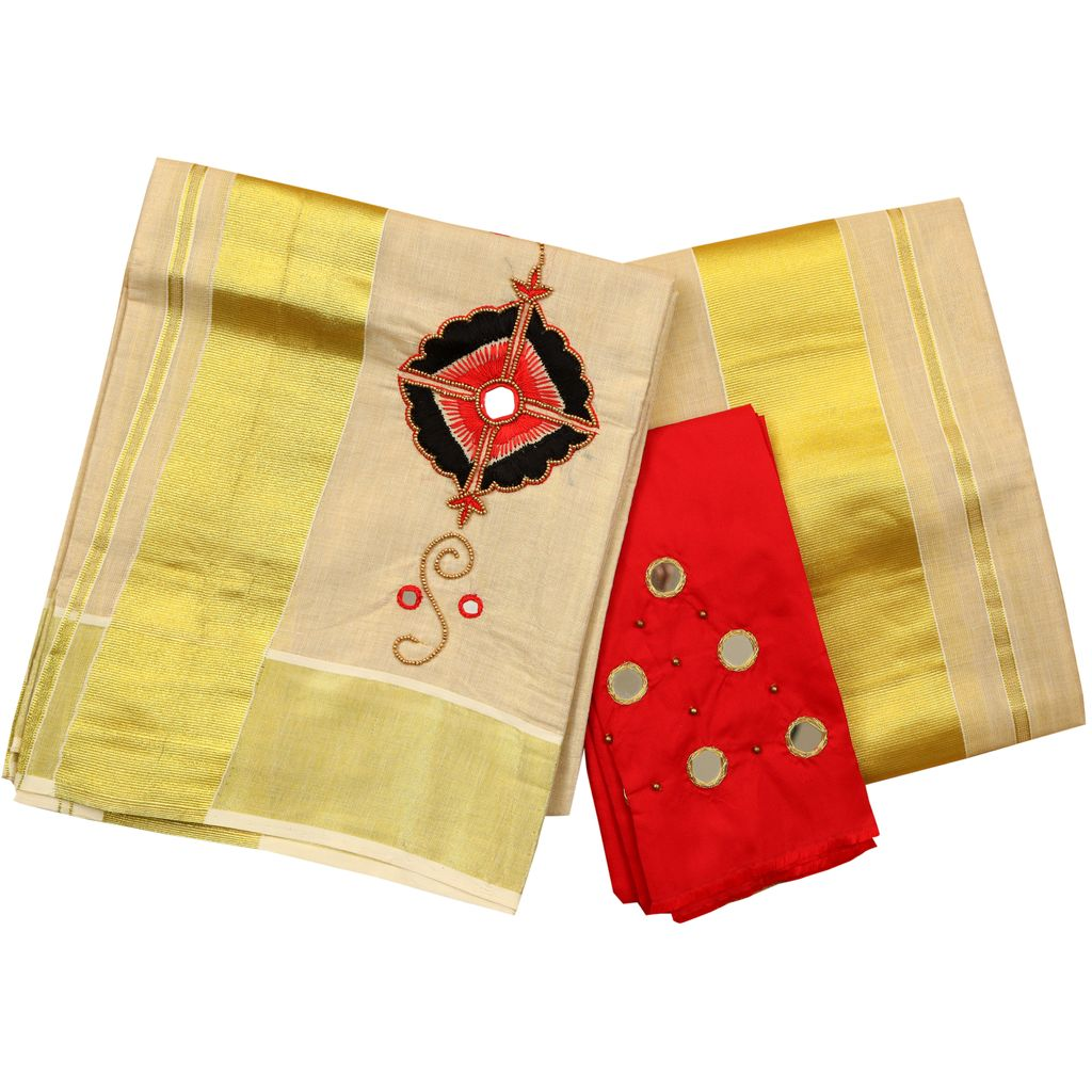 Tissue Set Mundu With Red Embroidery And Mirror Work