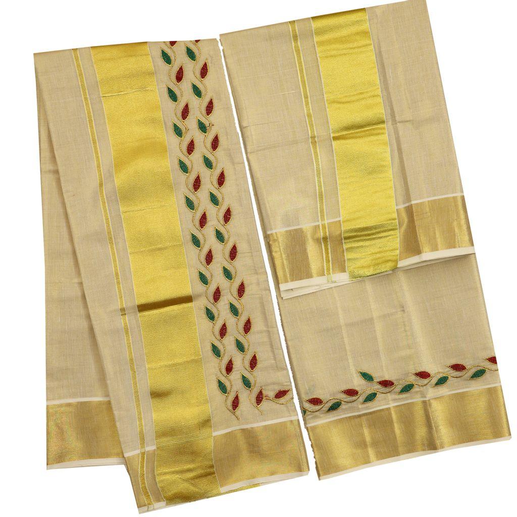Kasavu Set Mundu With Red And Green Leaves Motif