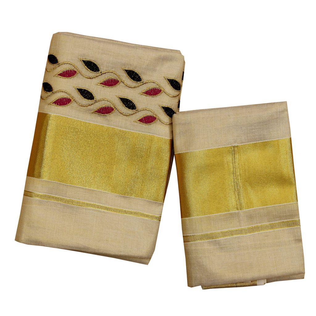 Kasavu Set Mundu With Embroidery Leaves Motif