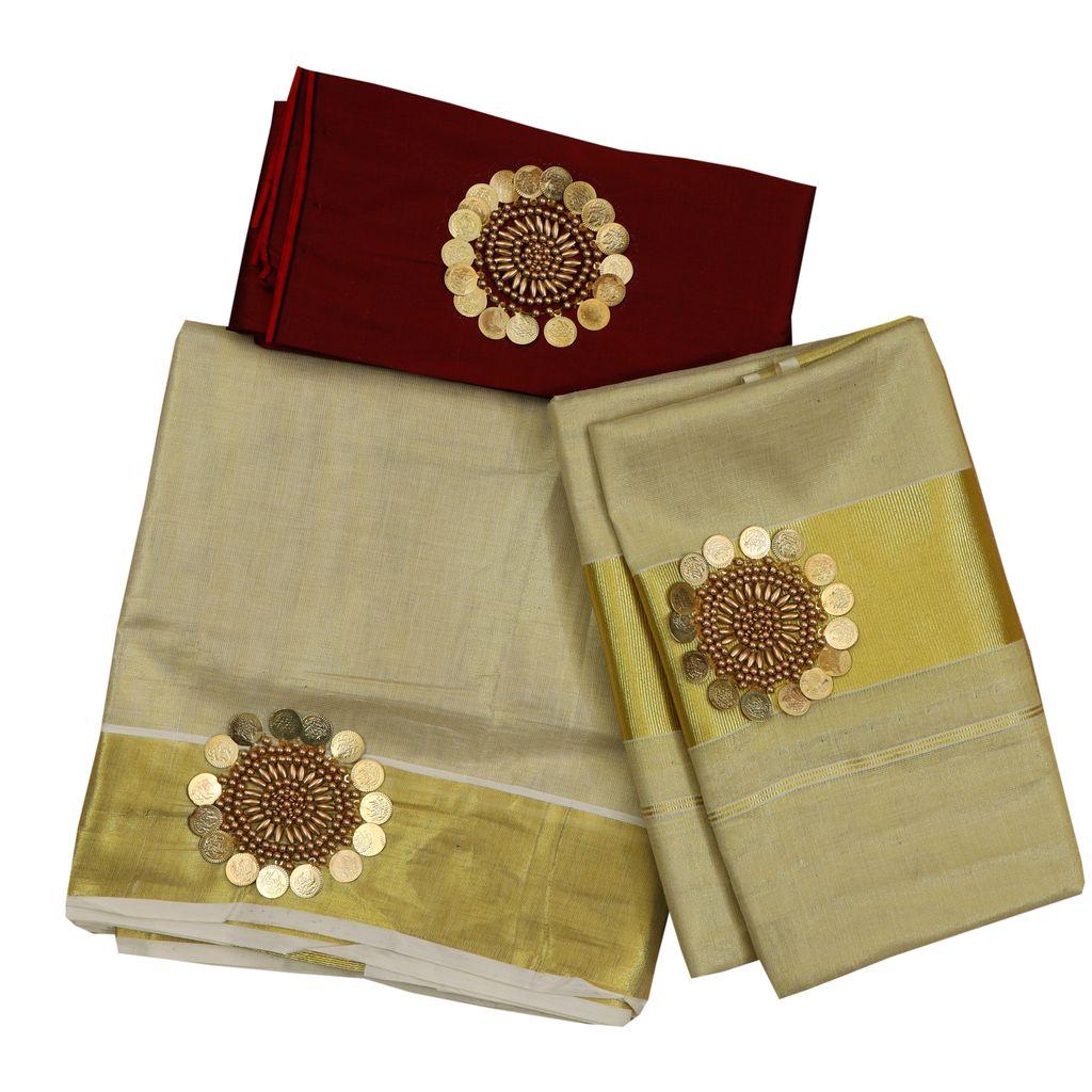 Tissue Set Mundu With Beads work
