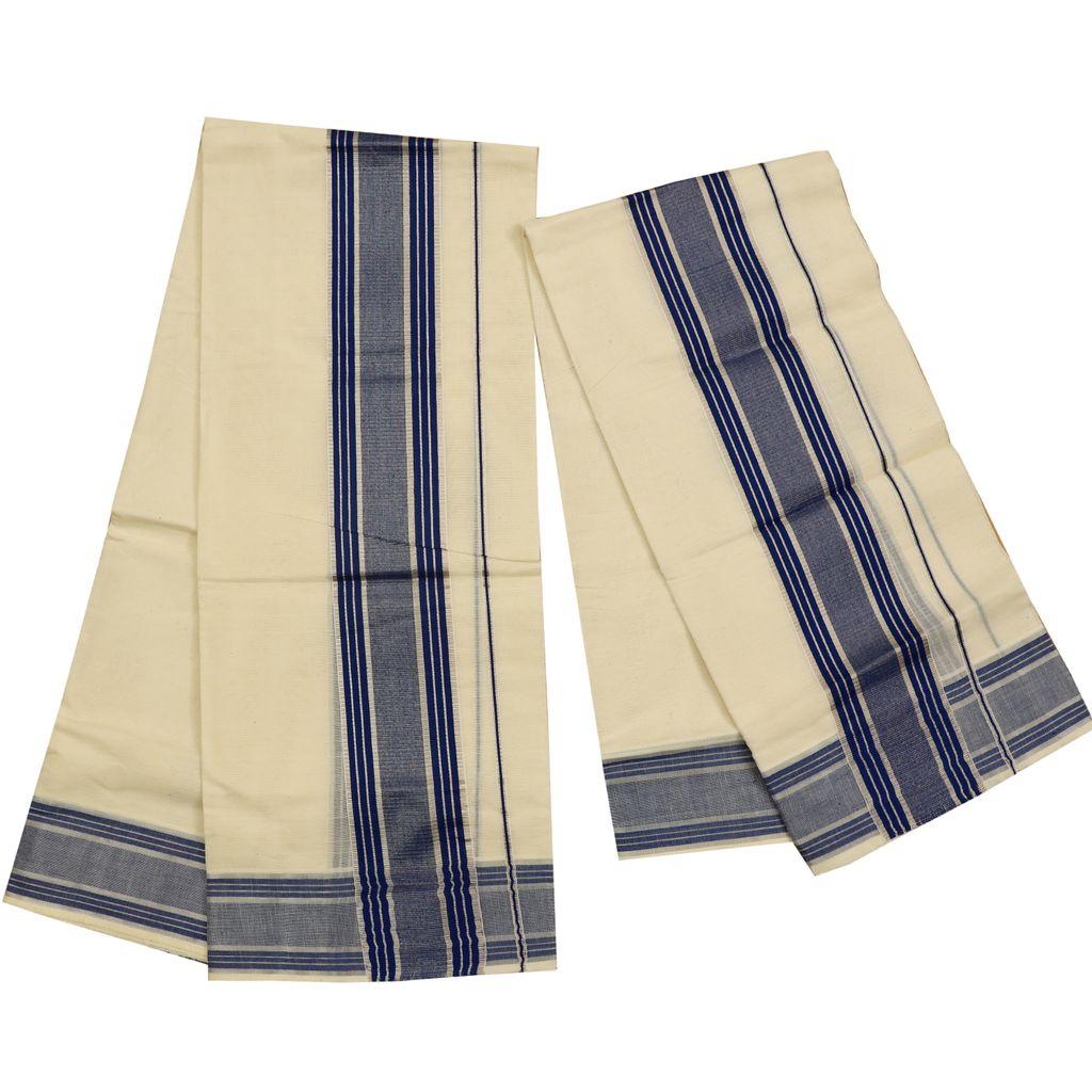 Cotton Set Mundu With Fancy Kara With Silver Stripes