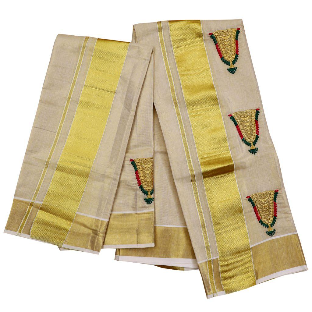 Kasavu Tissue Setmundu With Nettipattam Embroidery