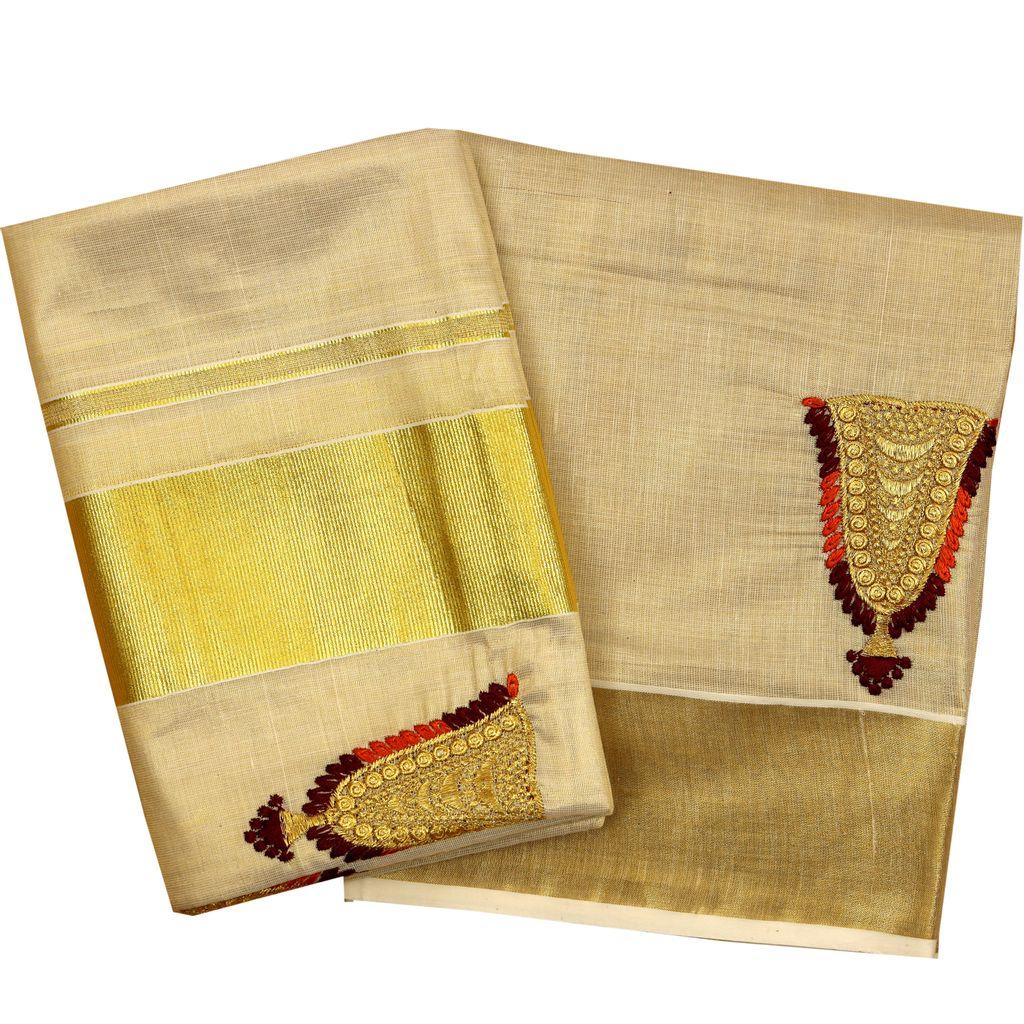 Kasavu Setmundu With Beautiful Nettipattam Embroidery