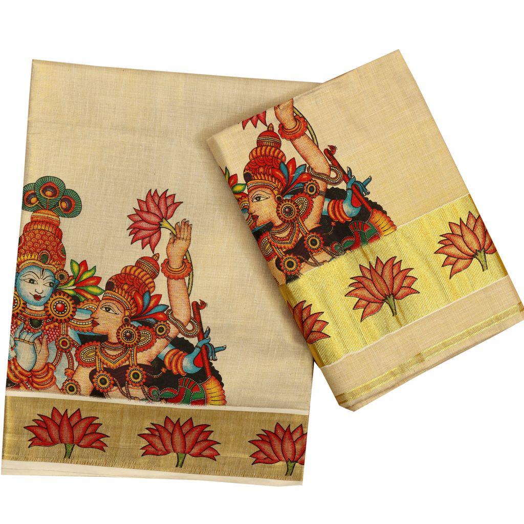 Tissue Set Mundu With Radhamadhavam Mural