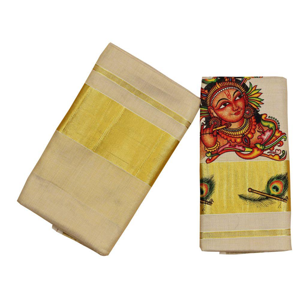 Tissue Set Mundu With Krishna  Print