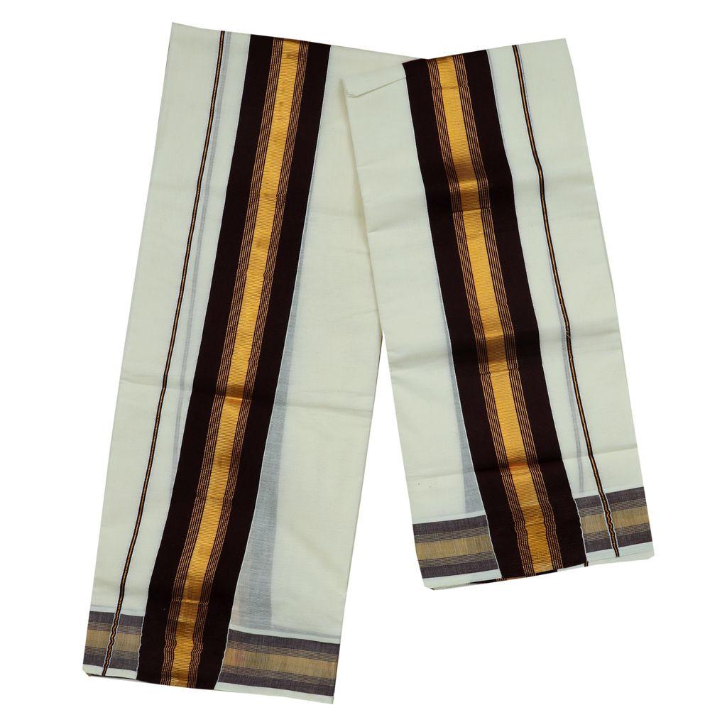 Coffee Brown Kara Cotton Set Mundu With Golden Stripes