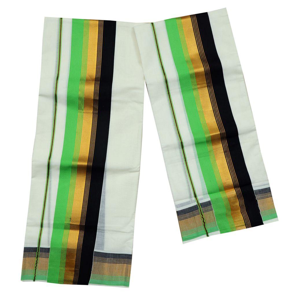 Black And Green Kara Cotton Set Mundu With Golden Stripes