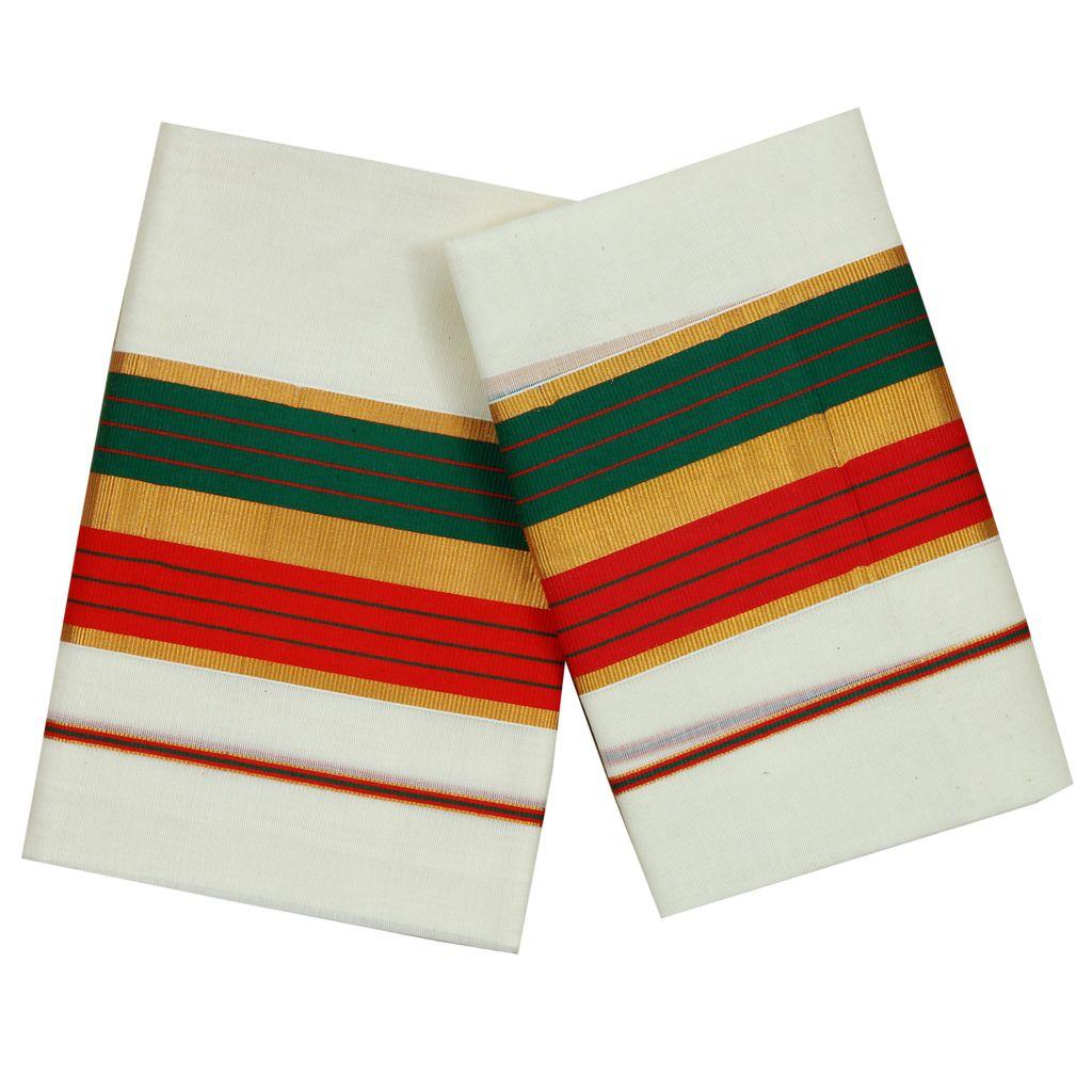 Green And Red Kara Cotton Setmundu With Golden Stripes