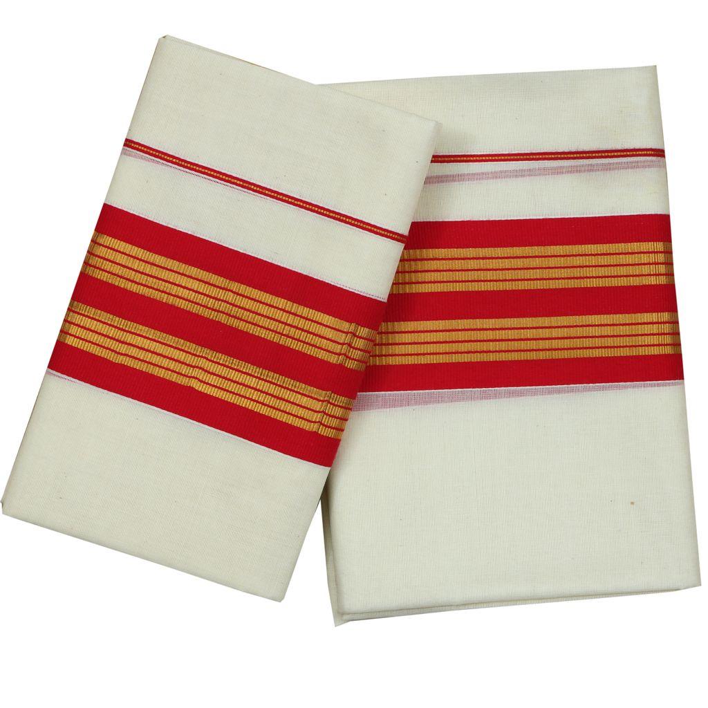 Pink Kara Cotton Setmundu With Golden Stripes