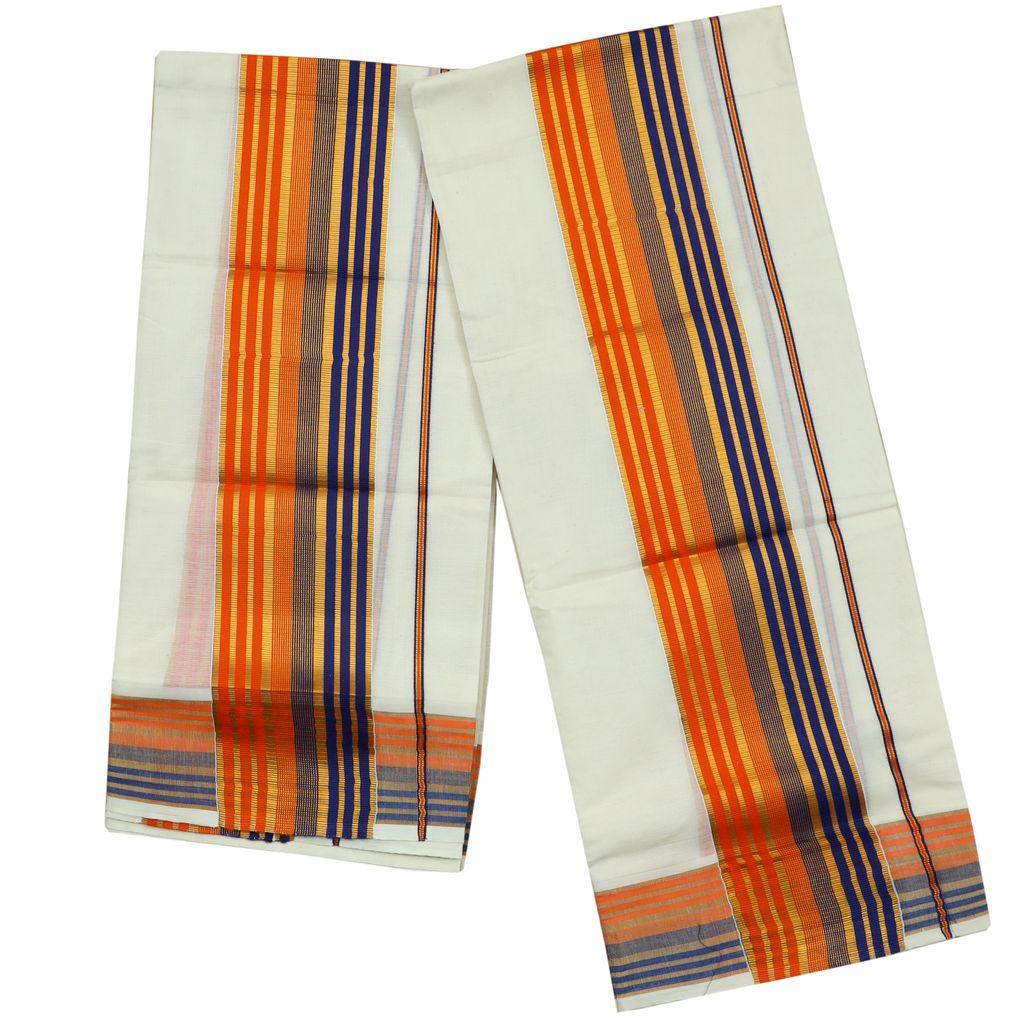 Orange And Blue Kara Cotton Setmundu With Golden Stripes